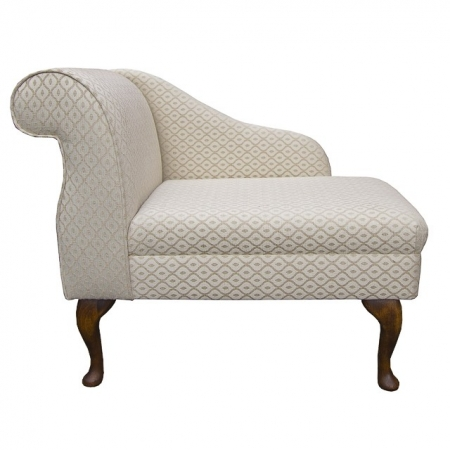 "36"" Compact Chaise in a Trellis Beige Fabric on Hardwood Queen Anne Legs - SR17082"