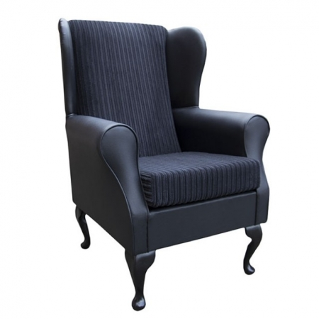 Westoe Wingback Fireside Chair in a Faux Black Leather & Noir Black Jumbo Cord Fabric - 16114