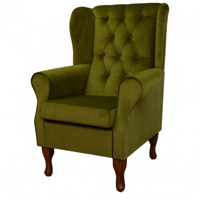 Standard Wingback Fireside Westoe Chair with Buttoning in a Malta Grass Deluxe Velvet Fabric