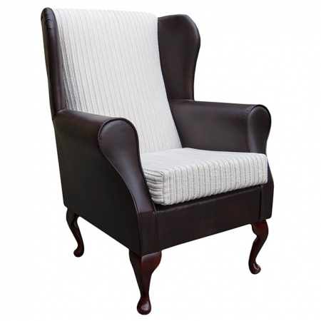 Westoe Wingback Fireside Chair in a Faux Chestnut Brown Leather & Chalk Jumbo Cord Fabric - 16115