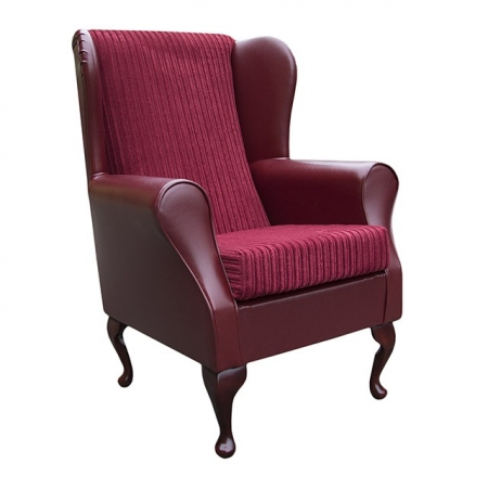 Westoe wingback Fireside Chair in a Faux Denver Smooth Wine Red Leather & Henna Red Jumbo Cord Fabric - 16111