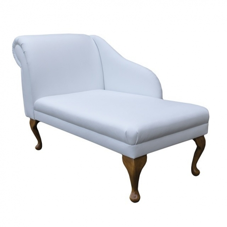 """45"""" Chaise Longue in a Madras Lilly White Genuine Leather"""