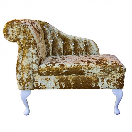 "36"" Compact Diamante Buttoned Chaise in a Lustro Metallic Gilded Chenille - LUS1306"