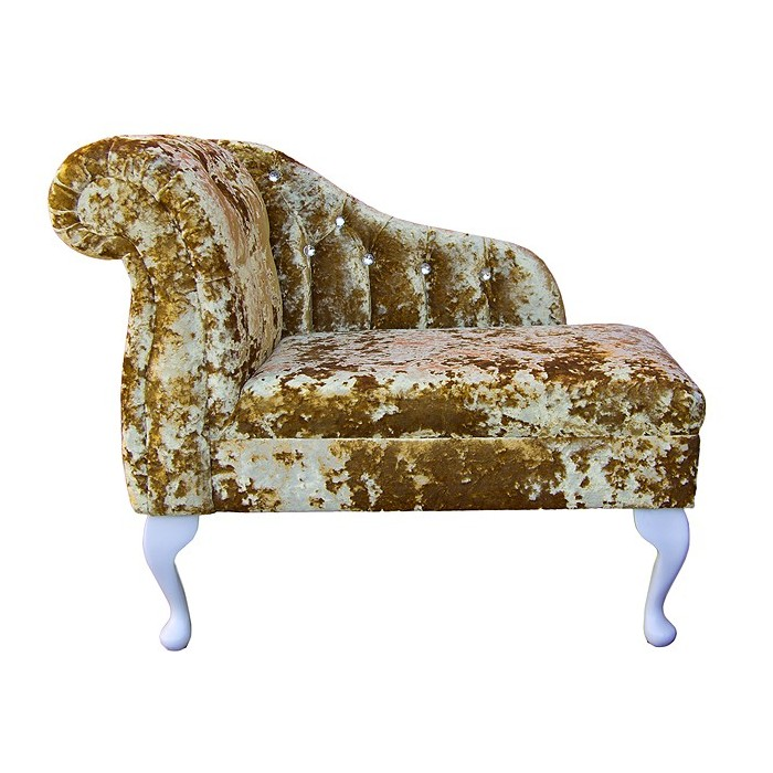 36 compact diamante buttoned chaise in a lustro metallic for Chaise diamante