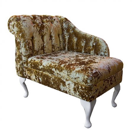 "36"" Compact Diamante Buttoned Chaise Longue in a Lustro Metallic Gilded Chenille Fabric"