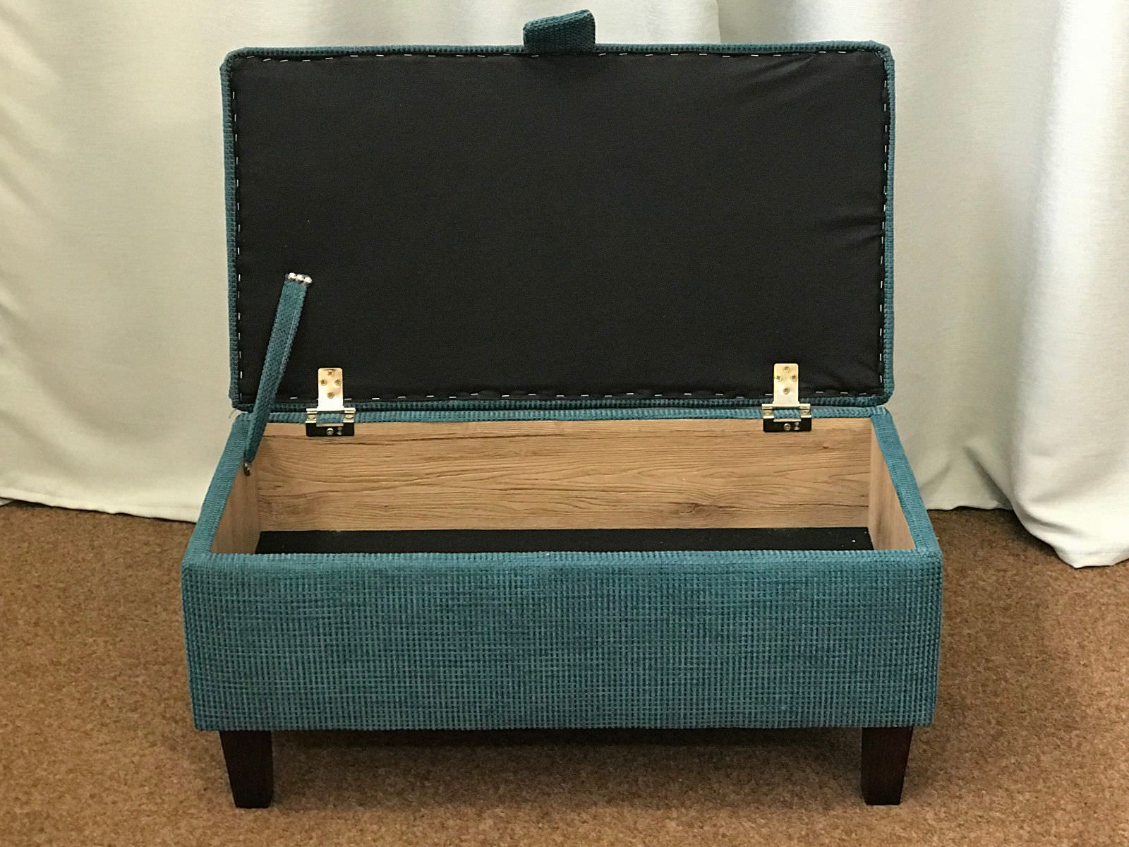 Small Foot Stool Pouffe Teal Fabric Upholstered Ottoman Seat Bench