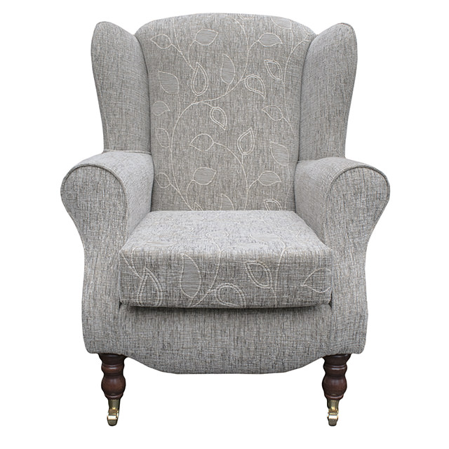 High back armchair floral fabric wing chair queen anne - High back wing chairs for living room ...