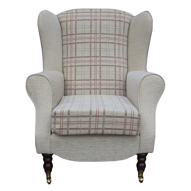 High back armchair beige red fabric wing chair queen anne - High back wing chairs for living room ...